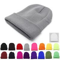 Cuff Beanie Plain Knit Hat Winter Warm Cap Slouchy Skull Ski Hats Winter Warm