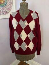 Lyle & Scott 100% wool V-neck Argyle Sweater Made in Scotland