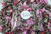 Natural Wedding Confetti Real Petals Grey Pink Rose & Delphiniums  1 to 100 paks
