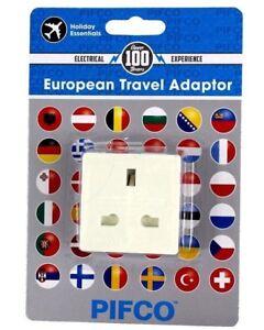 European Travel Adaptor 3 Pin UK Plug to 2 Pin Euro 10 Amp Max