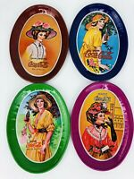 Coca Cola Vintage  Collectibles Lot Of 4 Mini Tin Oval Trays with Victorian Lady