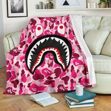 Pink Shark Camo Bape Premium Blanket Bedding