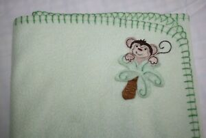 Parents Choice Baby Blanket Monkey Green Fleece Palm Tree Stitched Edge Trim 40""