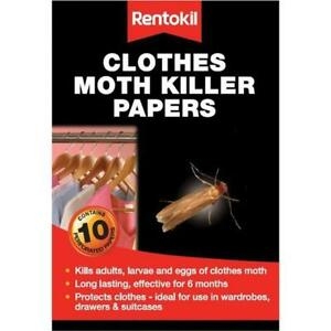 Rentokil Clothes Moth Killer Papers 10 Strips/ Kills adults, Larvae and Eggs