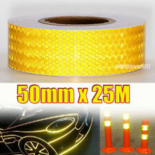 25m x 50mm Reflektorfolie Reflektorband Warnung Selbstklebend Warnaufkleber Gelb