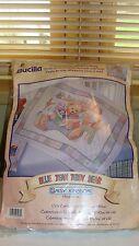 Bucilla Daisy Kingdom Blue Jean Teddy Stamped Cross Stitch Quilt Crib Cover Kit