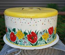 1950's Vintage Metal Domed Cake Carrier Taker Yellow Confetti Tulips Daffodils