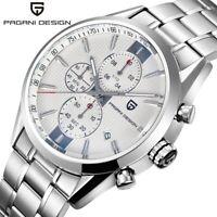PAGANI DESIGN Chronograph Date Business Men Quartz Waterproof Watch Steel Band