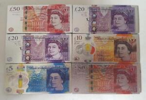3D METALIC FRIDGE MAGNETS SET OF 6 UK NOTES MONEY CURRENCY  DESIGN
