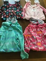 Infant Baby Girls Footed Sleepers Size 3T Months Fleece Lot of 4 Carters Pajamas