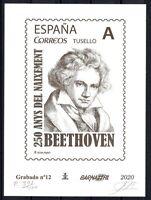 Grabado Barnafil 2020 nº 12 Beethoven 400 ejemplares sellos España