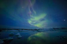 Beautiful Aurora Borealis Jokulsarlon Lagoon Photo Art Print Poster 18x12