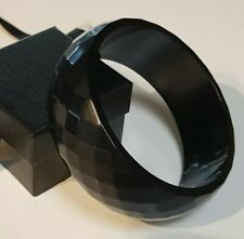 Vintage 70mm Faceted Black Early Plastic Lucite Wide Cuff Bangle 40 grams
