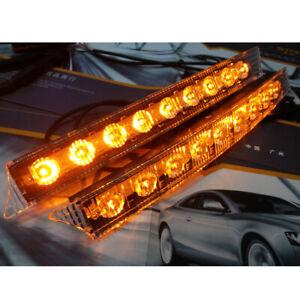 2PCS 12V 9LED Daytime Running Light Bar DRL Fog White lights + Amber Turn Signal
