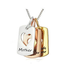 *UK* 925 SILVER PLT 'MOTHER DAUGHTER FRIENDS FOREVER' ENGRAVED NECKLACE GOLD MUM