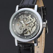 New Womens Fashion Automatic Skeleton Mechanical Leather Women Dress Wrist Watch