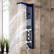 LED Shower Panel Tower Massage Jet Hand Shower Tub Set Black Mixer Tap Faucet