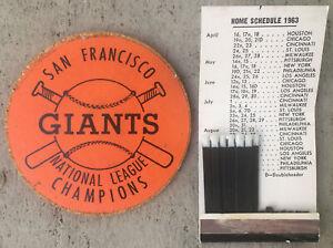 1963 San Francisco Giants BASEBALL NL Champions COASTER & MATCHBOOK w/ Schedule