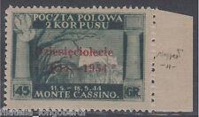 Polish Government in London 1954 Montecassino stamp carmine surchage MNH -F430