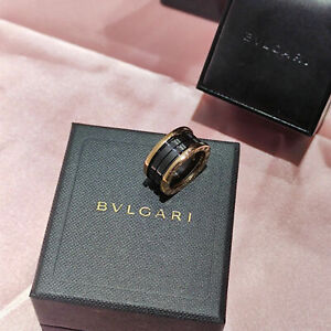 Bvlgari B Zero 1 4 band 18k Rose Gold black Ceramic Ring Size 9