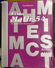 Saxon 54 Math (1st Edition) 5/4 TEST MASTERS BOOK