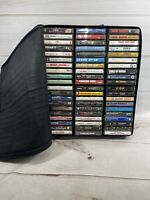 Cassette Tape lot of 120 Tapes Mixed Pop 80s 90s Mix + Case Logic Carry Zip Bag