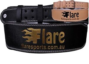 "Flaresports Weight Lifting Belt Gym Training Back Support Power leather 4"""