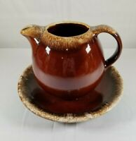 Vintage Hull Pottery Glazed Brown Drip Tea Pot With Plate Oven Proof Stoneware