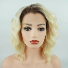 Wavy Short 14inch Dark Root Light Blonde Ombre Synthetic Lace Front Wig