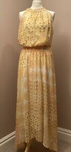 Wallis Yellow Maxi Dress Size 14 Halter Neck Geometric Print BNWT