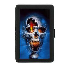 Black Metal Cigarette Case Holder Box Skull Design-005