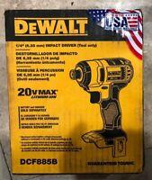 DEWALT 20V MAX Li-Ion 1/4 in. Impact Driver DCF885B Recon  New