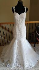 New w/ Tag $1550 Casablanca 2256 Sage Champagne Ivory Lace Wedding Dress Size 14