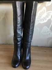 Kurt Geiger Ladies Knee Black Leather Wedge Boots Size 6 Immaculate Condition