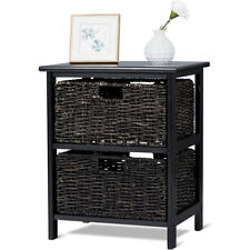 Wood End Accent Table Home Furniture Living Room Night Stand W/2 Foldable Basket