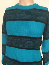 VTG 90s ~ HIGH SIERRA TURQUOISE THICK STRIPED CREWNECK SWEATER ~ Large