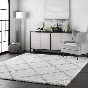 Nuloom OZEZ04A Geometric Moroccan Easy Shaggy White Grey Square Area Rug 240cm