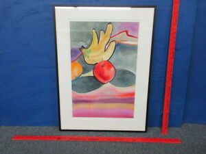 """Connie Brorson Signed Framed Watercolor Painting """"Bananas"""" 24 1/4"""" x 20"""""""