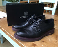 Versace Derby Shoes (Black Leather/Magenta Sole) UK 9.5 inc. Box and Shoe Bag