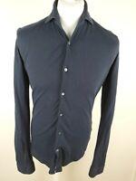 Mens Reiss Textured Button Polo Shirt Longnsleeve Blue Medium Slim 40 Chest