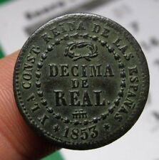 awesome 1853 PIRATE COB SPANISH Decima Real Colonial Coin Elizabeth ISABEL II