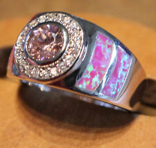 pink fire opal ring Gemstone silver jewelry Sz 8 exquisite zircon modern  E54