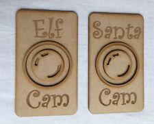 Christmas Santa Cam & Elf Cam 3mm MDF Craft (Set Of 2). Father Christmas