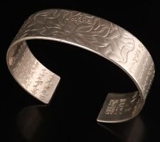 Tibetan Silver Carving Lotus Buddhist Scriptures Spiritual Bracelet Jewelry