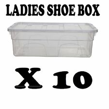 LADIES SHOE BOX x 10 PLASTIC STORAGE STACKING CLEAR BOXES TRANSPARENT UNIT LIDS