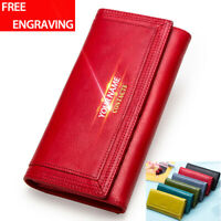 Women's Genuine Leather Long Wallet Lady Clutch Accordion RFID Blocking Purse