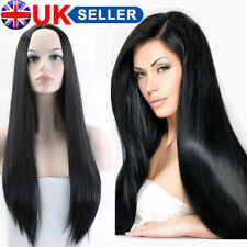 28'' Women Black Long Straight Wig Heat Resistant Hair Costume Wig Cosplay Dress