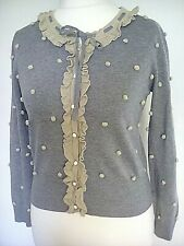 Darling cardigan Uk M grey with beige details trim pretty buttons retro look