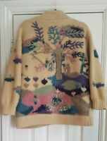 Hand knitted embroidered cardigan jacket coatigan