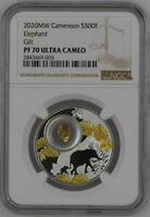 2020 MW Cameroon 500F - LUCKY COINS - ELEPHANT - GOLD GILT - NGC PF70 UC w BOX